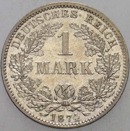 Kleinmünzen 1 Mark 1874 D Vorzüglich Stempelglanz
