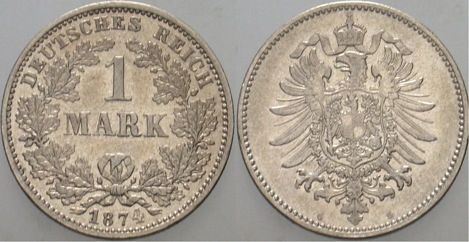 Kleinmünzen 1 Mark 1874 G Sehr Schön Münzenhandlung Udo
